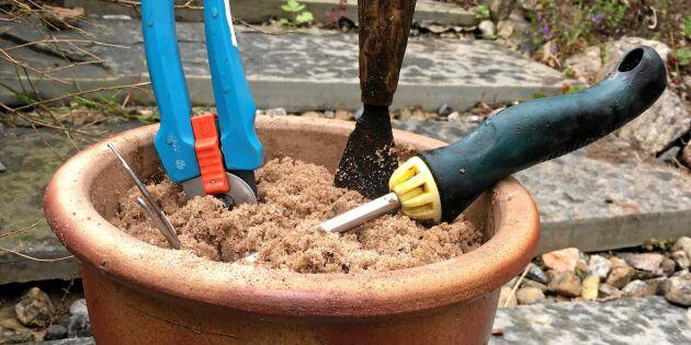 Vässa dina trädgårdsverktyg i smarta krukan