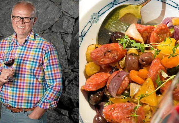 Sommarlätt rätt med salsiccia och grönsaker som passar till både vardag och fest.