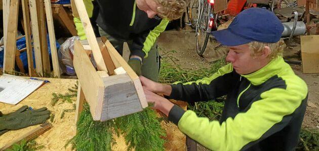 Det är en del pill att få ihop julbockarna. Så här ser det ut när Bengt-Erik Johansson tillverkar en med material från egen skog.
