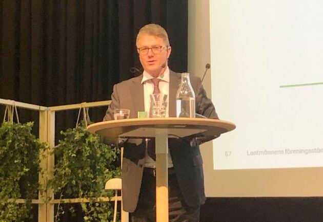 Lantmännens vd Per Olof Nyman vid 2019 års föreningsstämma.