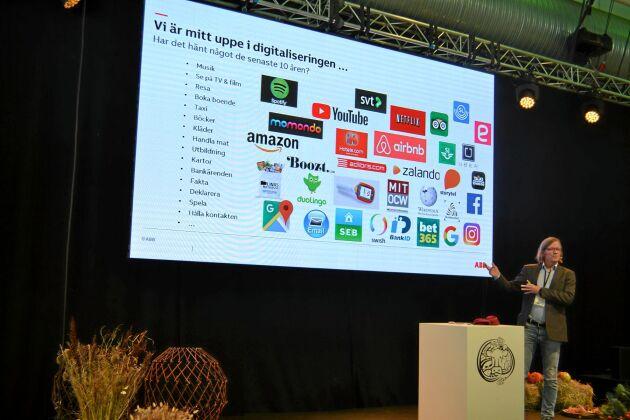 Tomas Lagerberg, ABB, föreläser om digitalisering och teknologi på Elmia Lantbruk 2018.