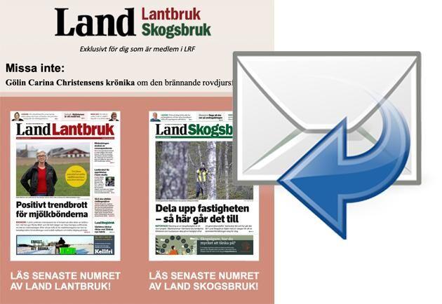 Du som är LRF-medlem och har angett din e-postadress till medlemsregistret får Land Lantbruks digitala utskick varje torsdagsmorgon.