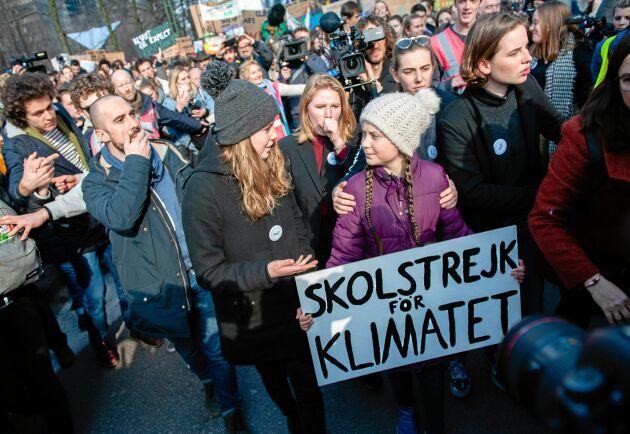 Under sportlovet har Greta Thunberg rest runt i Europa (med tåg såklart) och deltagit i klimatstrejker –här i Belgien.