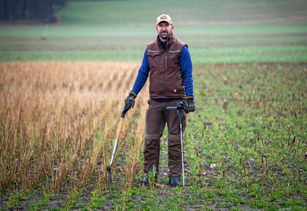 """Trots de stora regnmängderna under vintern är det i år mindre vattensamlingar på fälten än tidigare. """"Jag ser fram emot ett ganska enkelt vårbruk"""", säger Martin Krokstorp."""