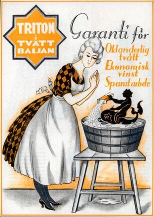 Garanterat rent med Triton tvättmedel lovar annonsen från 1925.