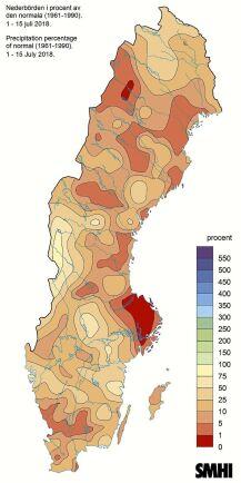 SMHI:s mätningar hittills för juli visar att det regnat avsevärt mycket mindre än normalt.