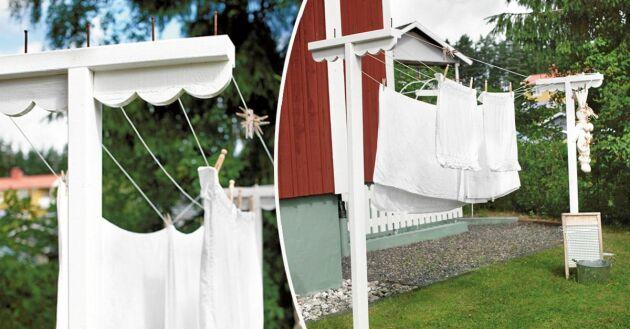 Så bygger du en egen lantlig torkställning till trädgården.