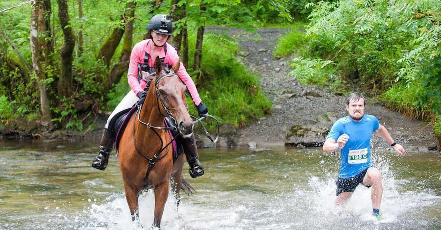Två ben mot fyra! Svårare konkurrens än en häst går nog inte att hitta i ett maraton!