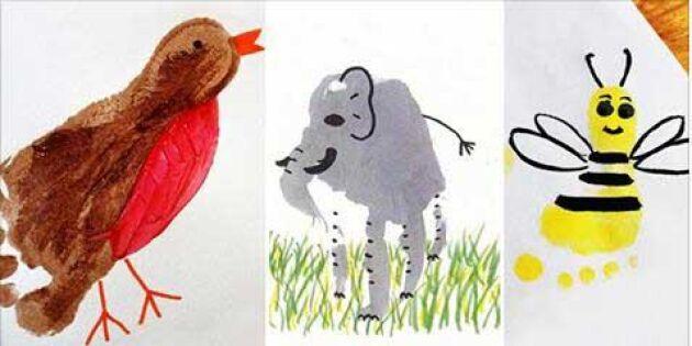 13 fina figurer att göra av barnens hand- och fotavtryck