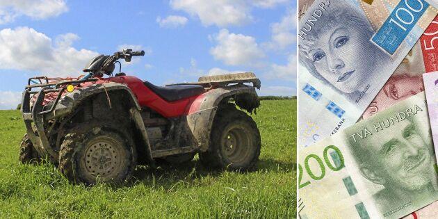 Varning: Fyrhjuling ger lantbrukare skattesmäll