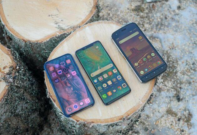 I testet har Iphone XS, Huawei Mate20 Pro, och Cat S61 ställts mot varandra.