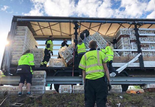 En lastbil som tappat hönsburar ledde till trafikkaos på riksväg 40 mellan Forserum och Jönköping.