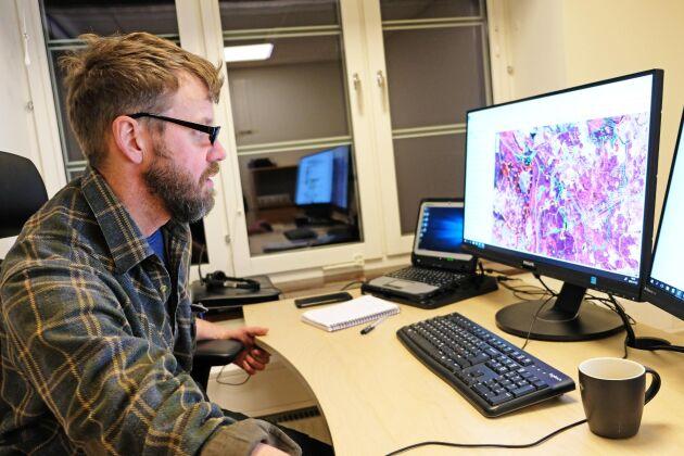 Magnus Kristoffersson börjar inventeringsarbetet på kontoret genom att studera digitala kartor.