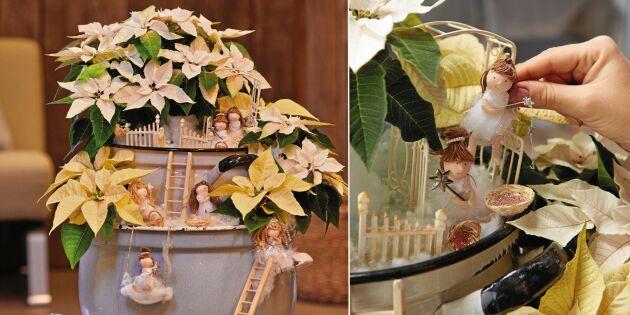 Blompyssel till jul: Gör ett änglahus med julstjärnor