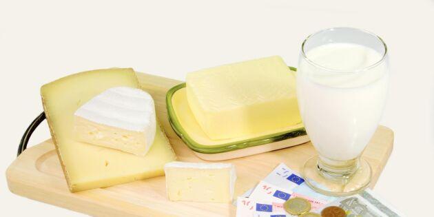 Europeiska mjölkinvägningen fortsätter sjunka