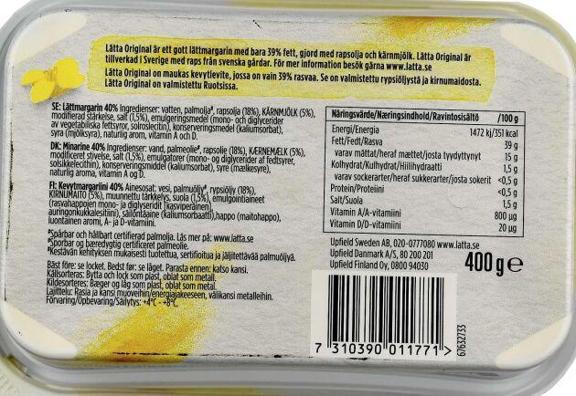 Inte särskilt mycket raps. Innehållsföreteckningen på baksidan avslöjar att den främsta ingrediensen, utöver vatten, är palmolja.