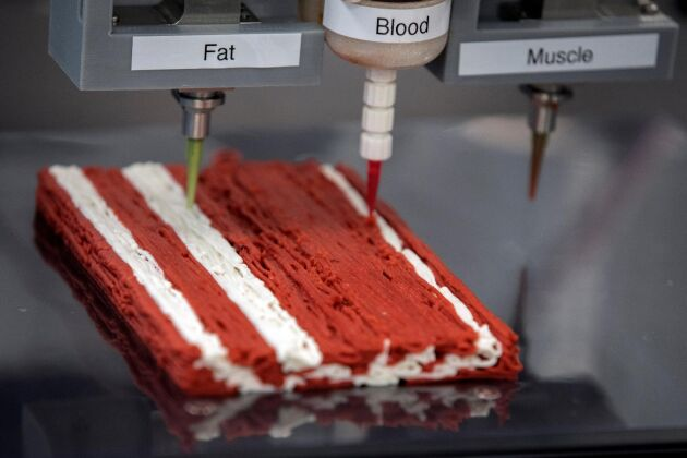 Senor, blod och fett ska locka konsumenten att byta kött mot veganbiff gjord på bland annat soja och solrosolja.