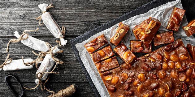 Vaniljkola med saltrostade mandlar – jösses, vad gott!