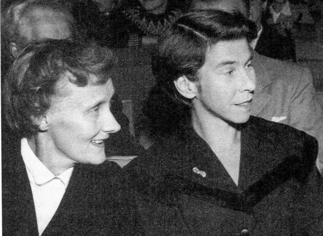 Två giganter. Astrid Lindgren och Tove Jansson 1958.