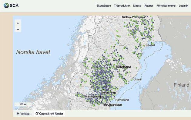 Digital karta över SCAs frivilliga avsättningar och skogar som brukas med alternativa metoder.