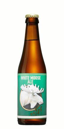 White moose ale från Carlstad bryggeri, en öl som anspelar på den berömda vita älgen i Värmland.