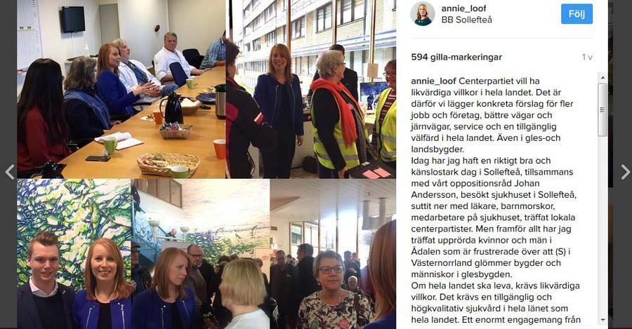 """""""En känslomässig dag"""" så beskriver Annie Lööf besöket i Sollefteå på sin Instagram. På bilden längst ner till vänster syns Johan Andersson som bor i Resele, och är lokal c-politiker i Sollefteå."""