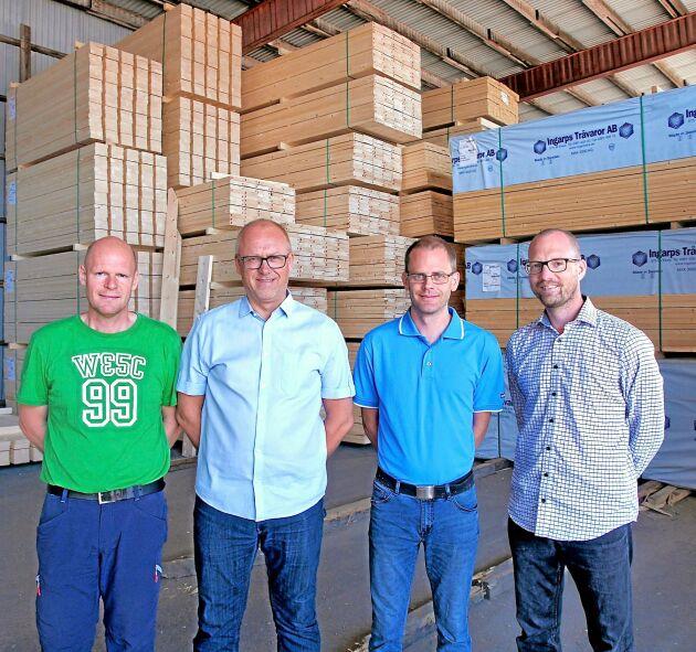 Långsiktighet är ett nyckelord för Ingarps Trävaror, förklarar Mattias Sälleteg, Nicklas Gerhardsson, Christian Hördegård och Andreas Nyrén.