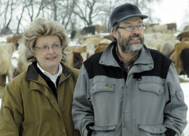 Kerstin och Carl-Axel Dahlgren, som driver KC Ranch, här vid Land Lantbruks besök i vintras. Foto: HELGE RUBIN