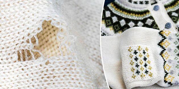 Laga slitna tröjan med en stickad lapp – så gör du