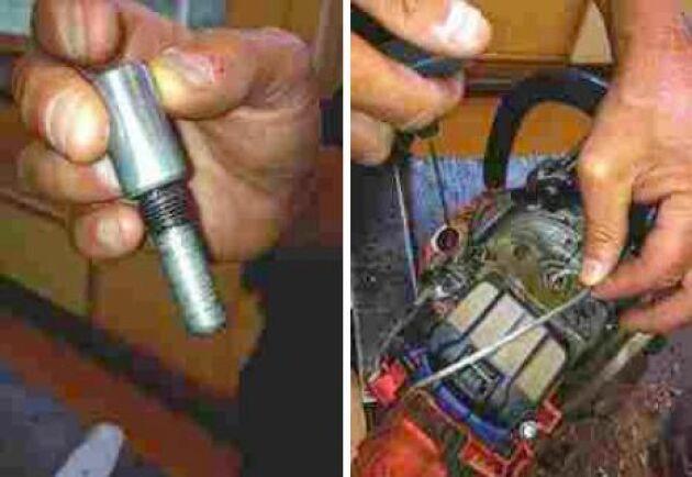 Ofta måste man ta bort kopplingen när man ska byta drivkrans. För att lossa kopplingen måste kolven först låsas i sitt nedersta läge. Skruva ur tändstiftet och plugga igen cylindern med ett startsnöre eller skruva i en kolvstopp. Dra försiktigt i startsnöret tills det tar stopp – kolven är låst och det går att lossa kopplingen.