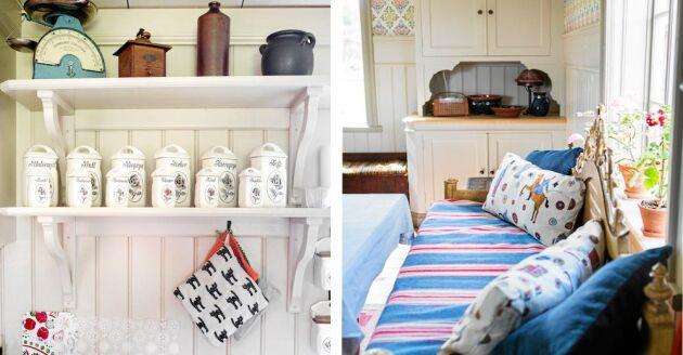 Vackra detaljer i snickerier och textilier. Spisens moderna keramikhäll är dold under vit skiva.