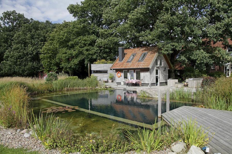 Baddamm med en grundare reningsdel som omger en rektangulär baddel och binder ihop den med den omgivande naturen på ett fint sätt. Byggd av Biotop i Tyskland. Foto: Biotop