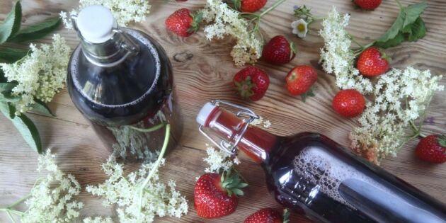 Saft på fläder och jordgubbar – smaken av sommar