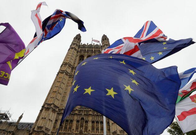 Brittiska flaggor och EU-flaggor kämpar om utrymmet utanför det brittiska parlamentet i London. Arkivbild.