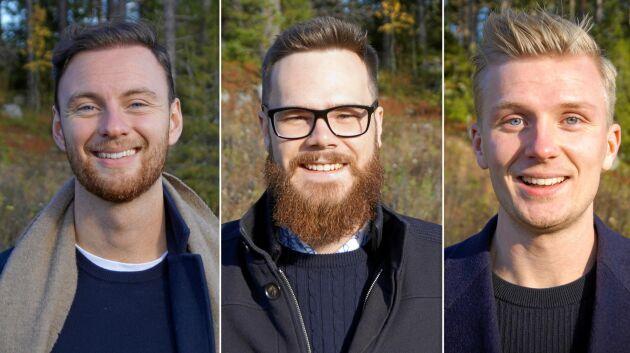 Från vänster: William Gidlund, 24, Isaac Tencic, 24, Pontus Andersson, 24.