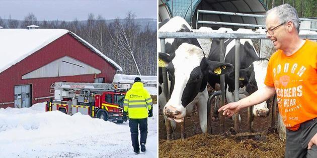 Räddningstjänsten på plats efter takraset hemma hos Mats och Åsa Karlsson.