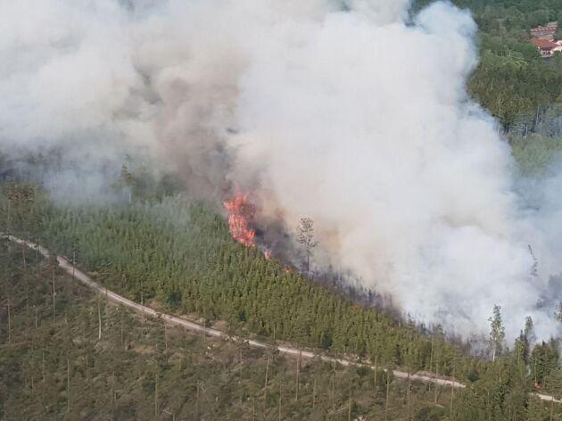 Branden i Gillbonderyd kunde stoppas tack vare flyget.