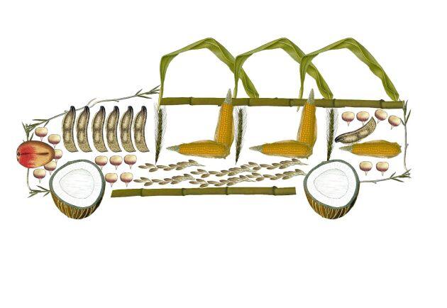 Allt fler jordbruksprodukter används i bilproduktionen. Man använder bland annat majs, soja, vetehalm, bambu och kokos.