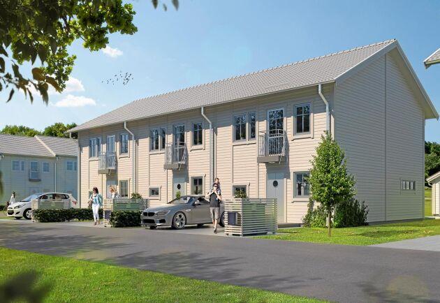 Barnabäckens Lycka i Alingsås. Här bygger Götenehus 15 radhus i trä. Husen byggs i två plan om 110 kvadratmeter.
