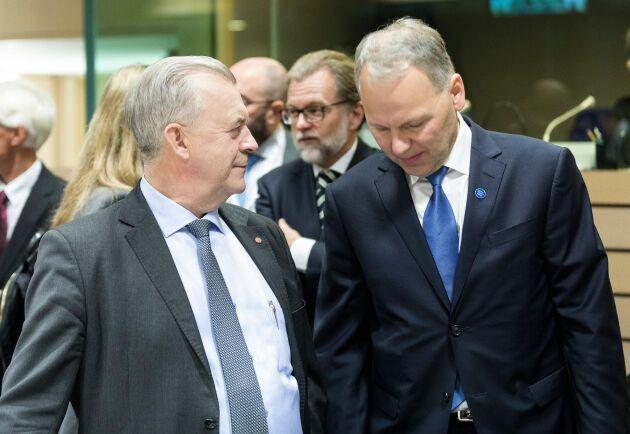 Landsbygdsminister Sven-Erik Bucht och Finlands jord- och skogsbruksminister Jari Leppä.