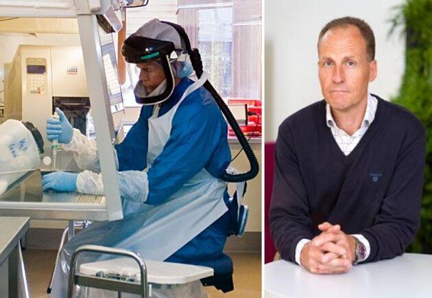 SVA:s avdelningschef Henrik Ericsson bedömer att myndigheten har stora möjligheter att köra coronavirusanalyser åt sjukvården. Till vänster i bild syns ett foto från myndighetens säkerhetslaboratorium.