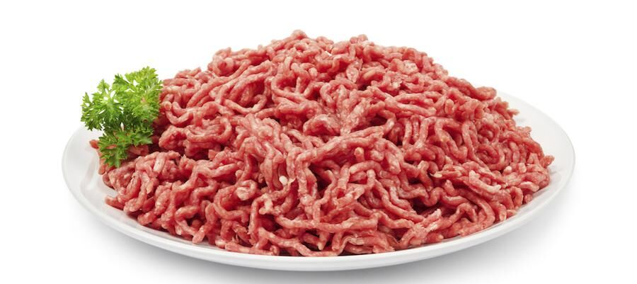 Ground beef on white