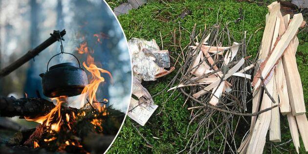 Så gör du upp eld ute i skogen – och tänk på detta när du släcker!
