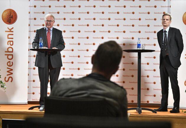 Swedbanks styrelseordförande Göran Persson och bankens vd Jens Henriksson.