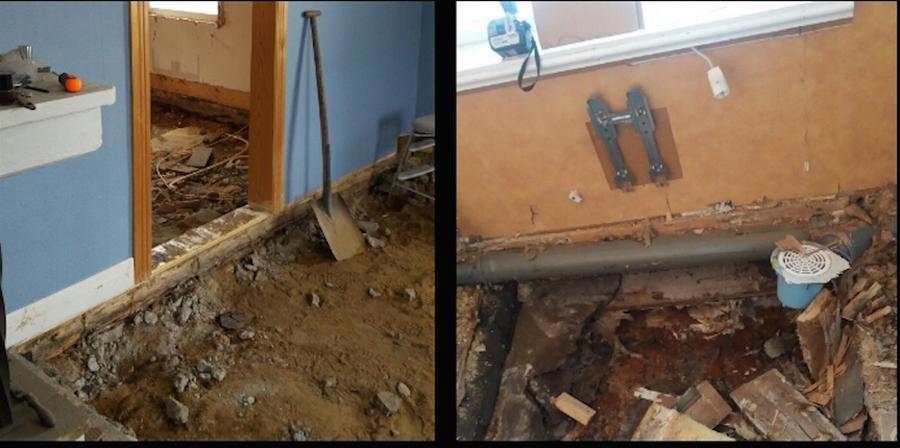 Under alla golv på nedervåningen var virket ruttet och förstört.