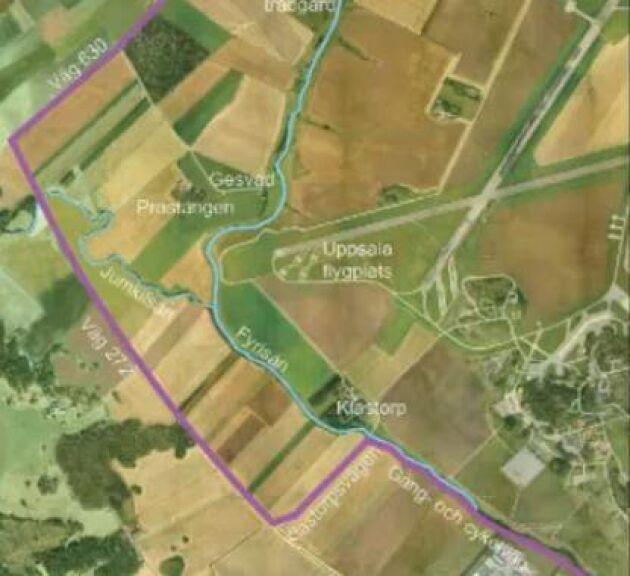 Den planerade cykelvägen omges av åkermark. Foto: Uppsala kommun