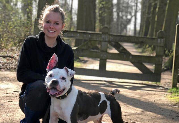 Under praktiken på ett hundhem i Nederländerna fick Tone Hildås träna amstafftiken Gucci inför familjeplacering.