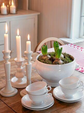 Sandra älskar både hyacinternas vackra blommor och doft av , det är jul för henne.