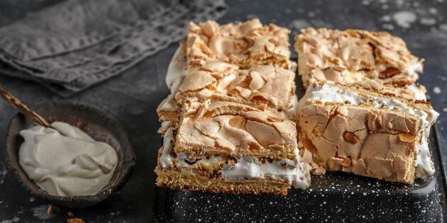 Pinocchiotårta med sockerkaka, maräng och vispgrädde