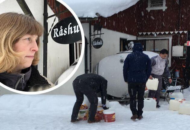 Tack vare mjölkbonden Ulrika Uhres genidrag lyckades gården i Småland rädda flera tusen liter mjölk.